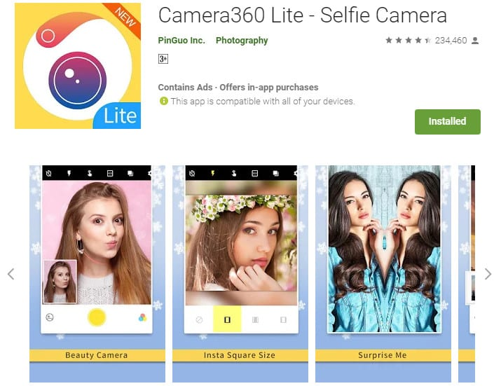 Best Lightweight Android Apps - Camera360 Lite
