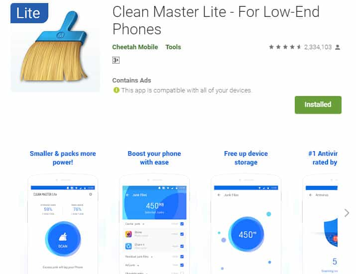 Best Lightweight Android Apps - Clean Master Lite