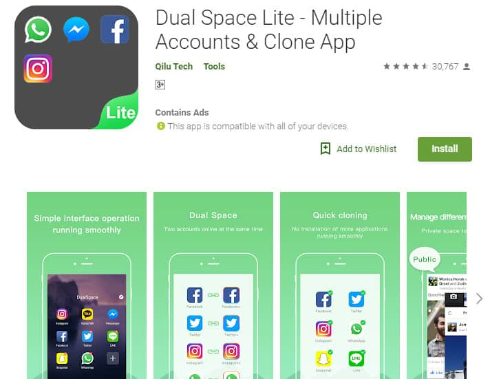 Best Lightweight Android Apps - Dual Space Lite