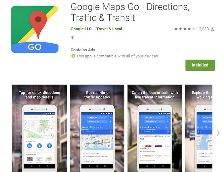 Best Lightweight Android Apps - Maps Go