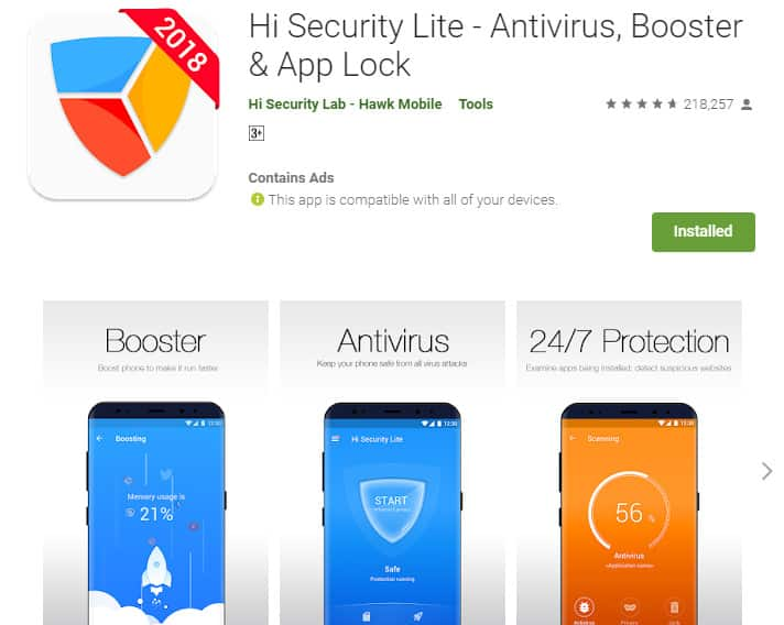Best Lightweight Android Apps - Hi Security Lite