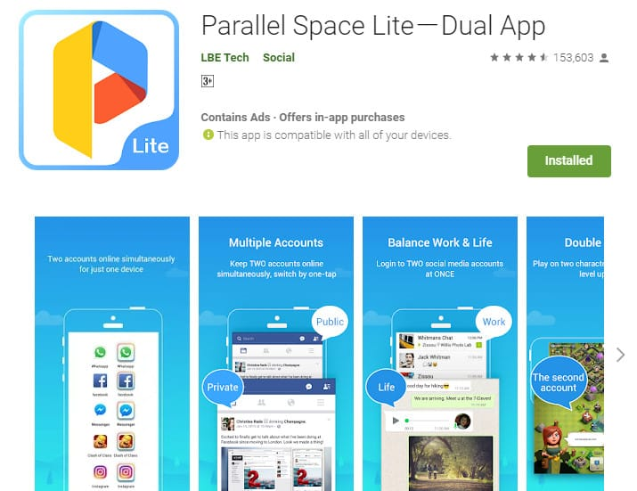 Best Lightweight Android Apps - Parallel Space Lite