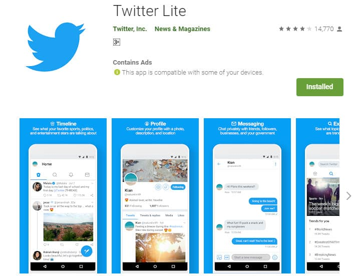 Best Lightweight Android Apps - Twitter Lite