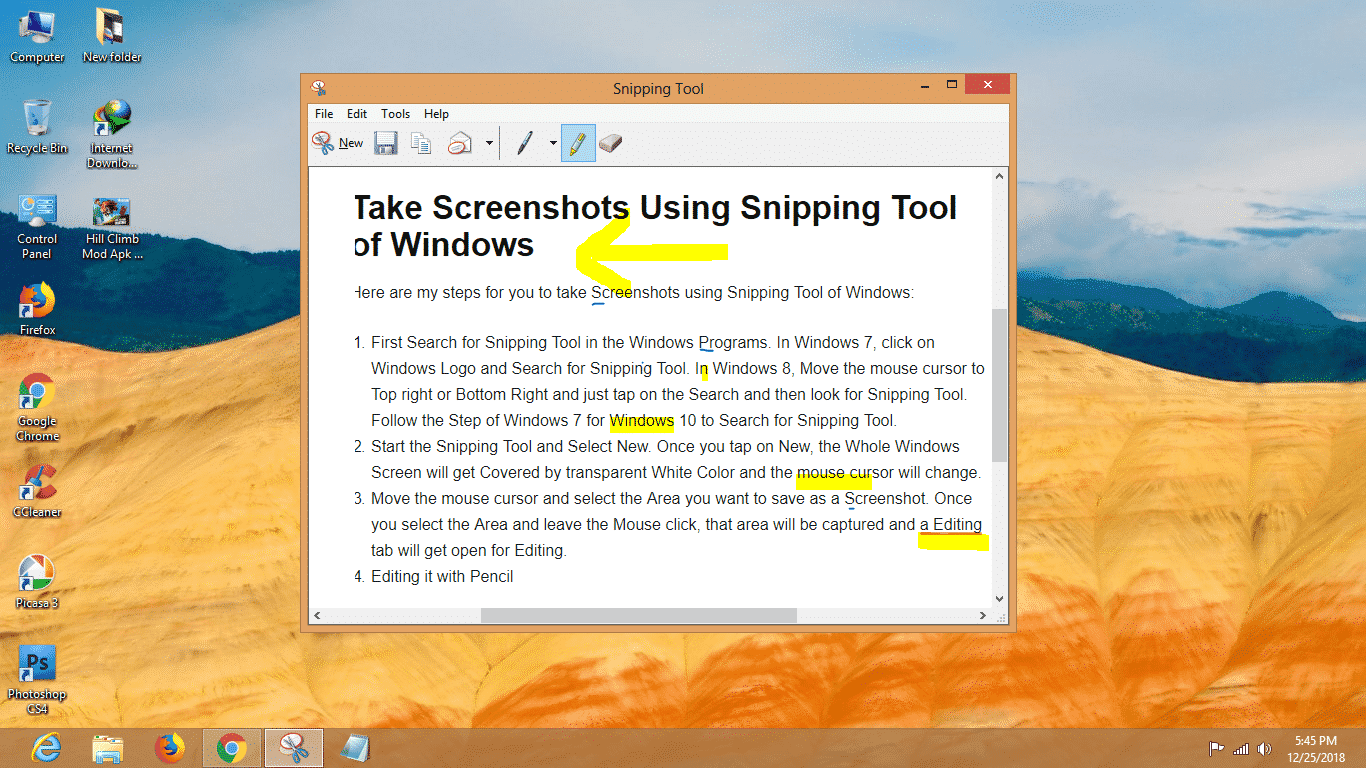 Take Screenshot in Windows