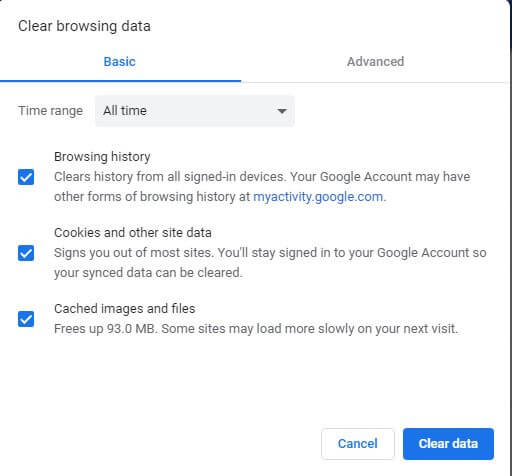 Clear Chrome Browsing Data