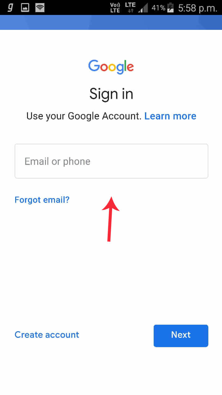 Add New Google Account in Gmail App