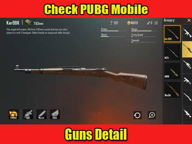 Check PUBG Mobile Guns Detail