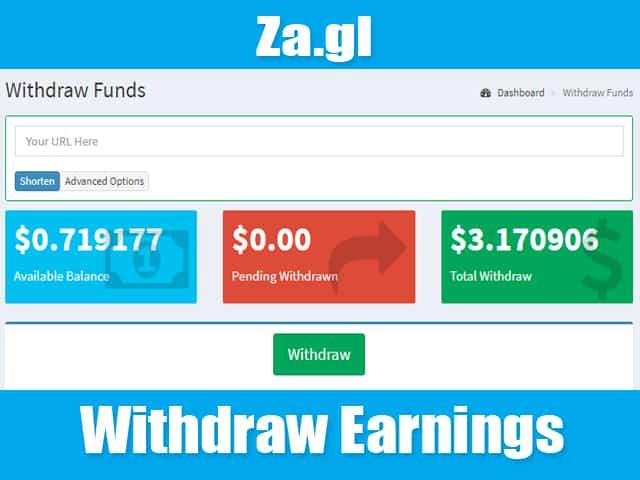 Withdraw Za.gl Earnings
