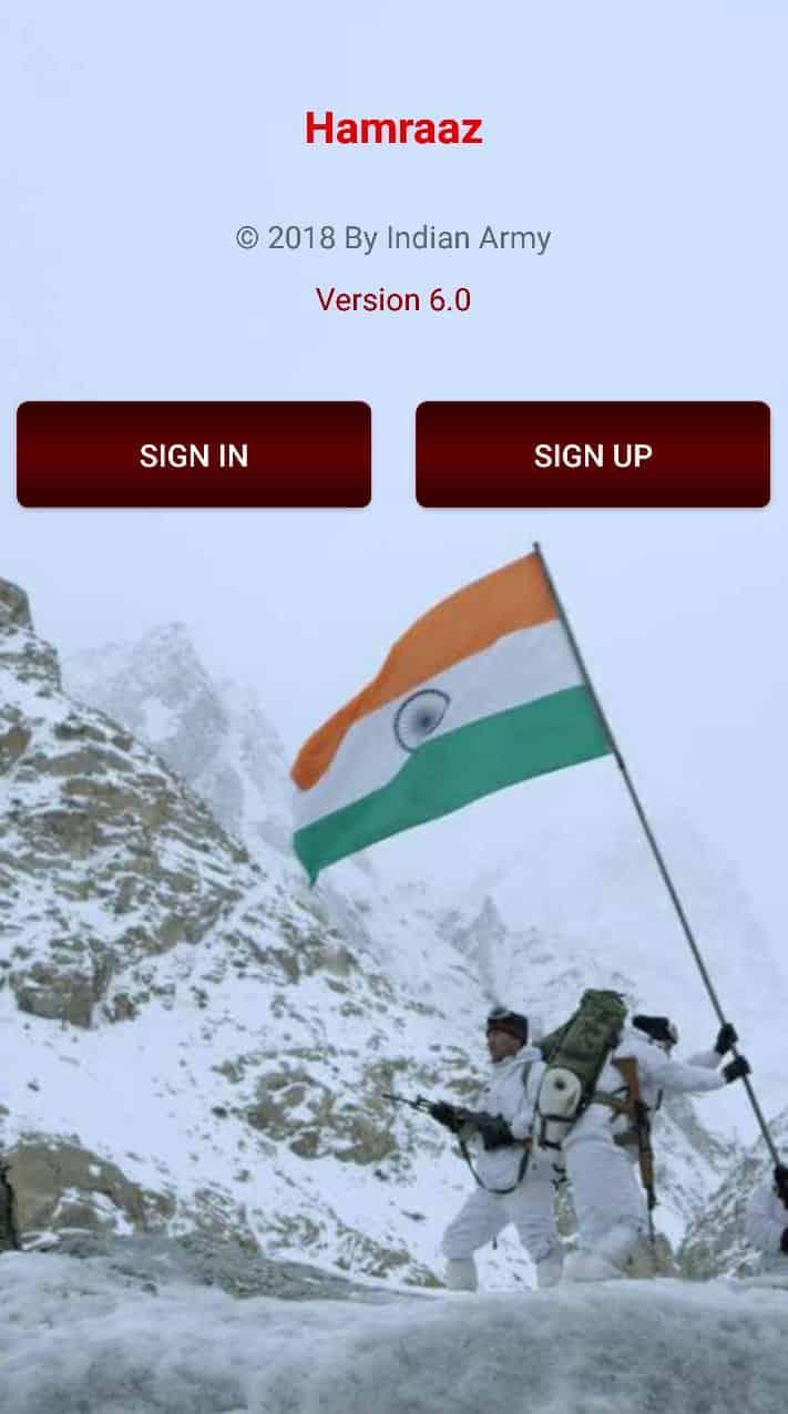 Hamraaz Army App sign-up option