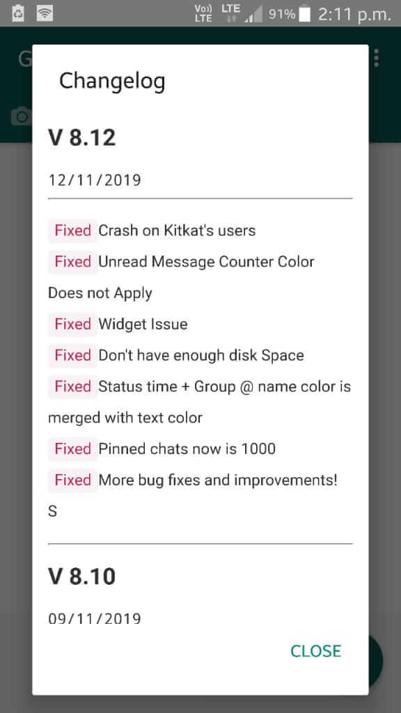 GBWhatsApp v8.12 Changes