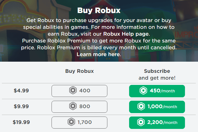 Pay using Roblox Gift Card Credit