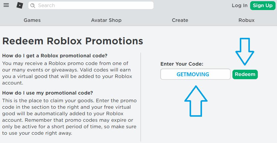 Redeem Roblox Promo Code