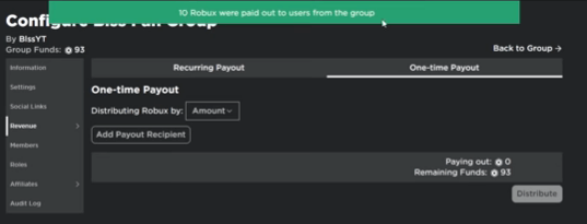 Robux Donation Successful